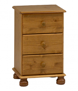 3 Drawers Pine Bedside Cabinet